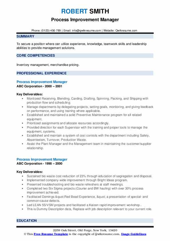 Process Improvement Manager Resume example