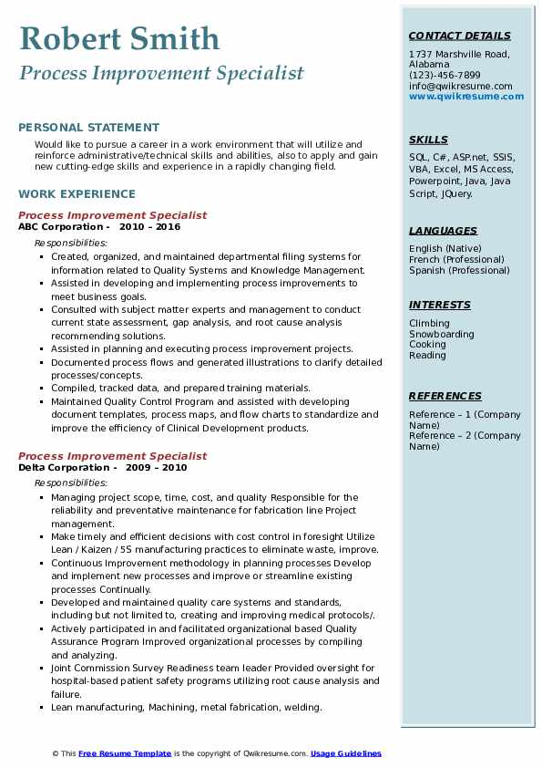 process improvement specialist resume samples  qwikresume