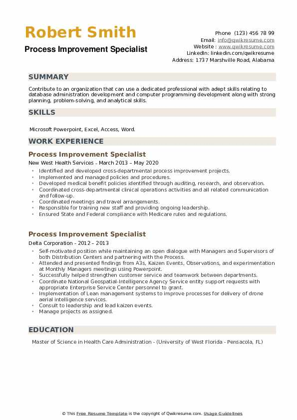 Process Improvement Specialist Resume example