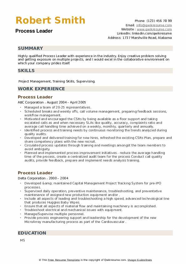 Process Leader Resume example