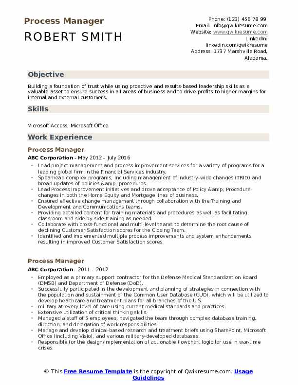 Process Manager Resume Samples Qwikresume