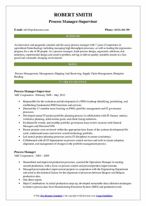Process Manager-Supervisor Resume Example