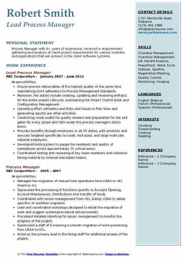 Lead Process Manager Resume Template