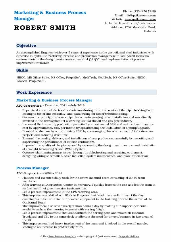 Marketing & Business Process Manager Resume Sample
