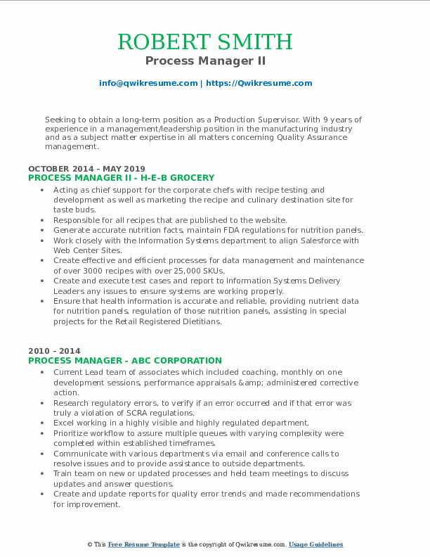 Process Manager II Resume Example