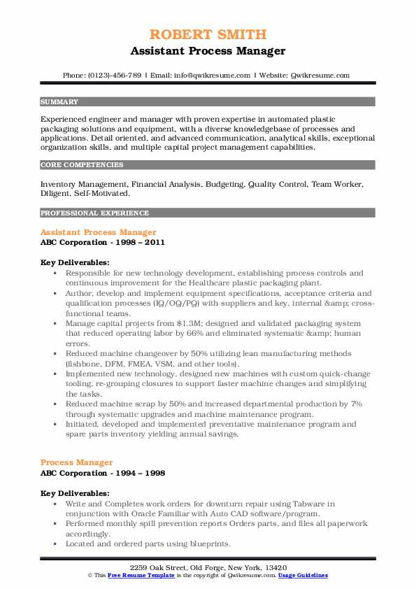 Assistant Process Manager Resume Model