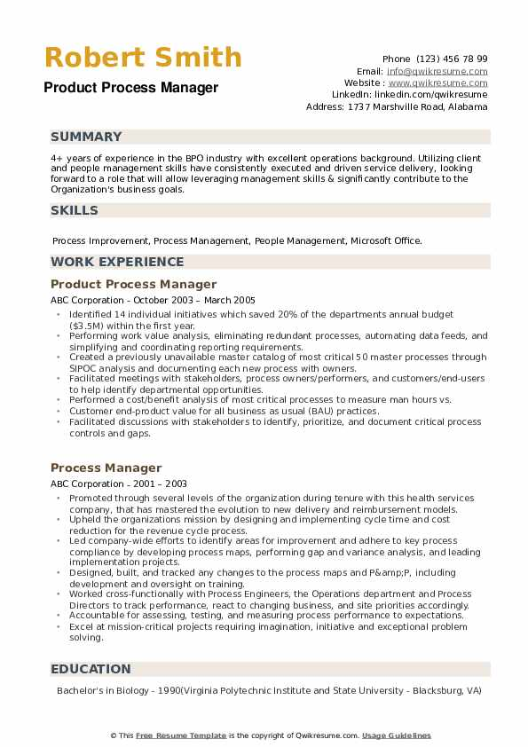 Product Process Manager Resume Format