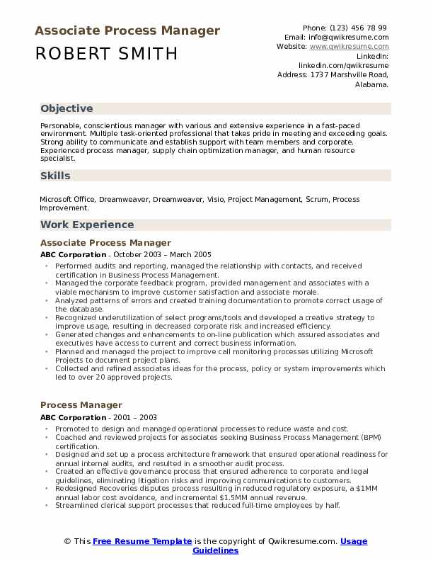 Associate Process Manager Resume Example