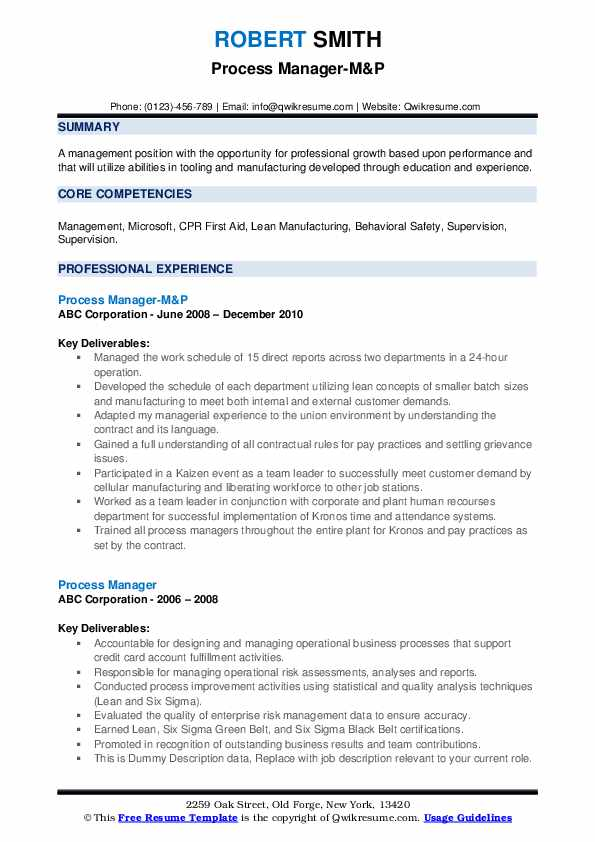Process Manager-M&P Resume Model