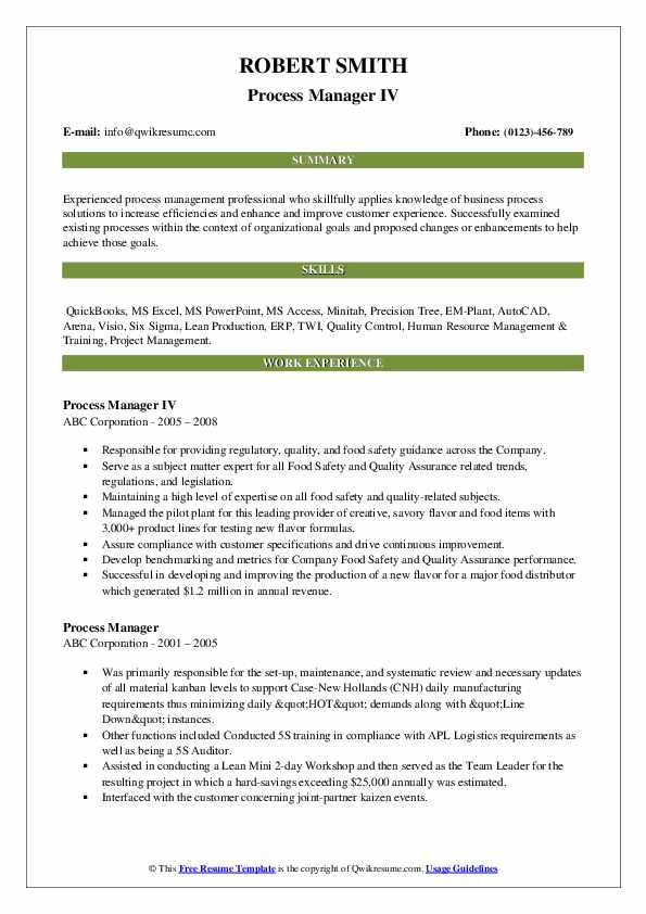 Process Manager IV Resume Model