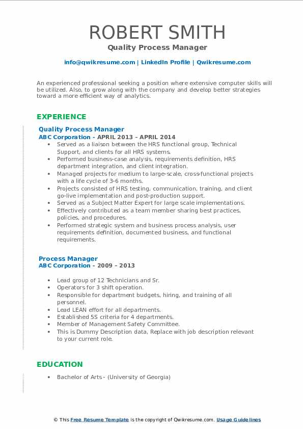 Quality Process Manager Resume Sample