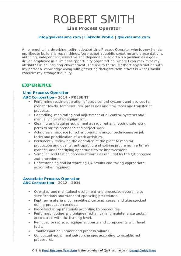 Line Process Operator Resume Format