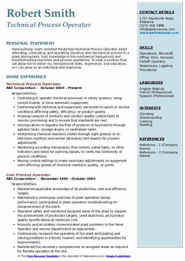 Technical Process Operator Resume Format