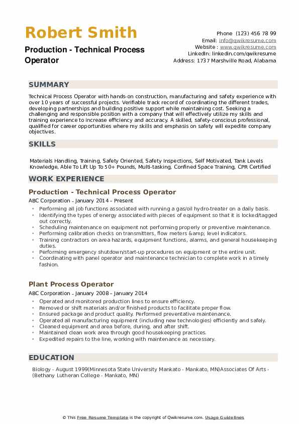 Production - Technical Process Operator Resume Model