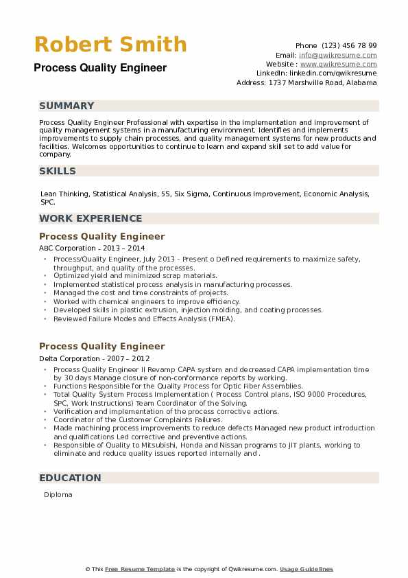Process Quality Engineer Resume example