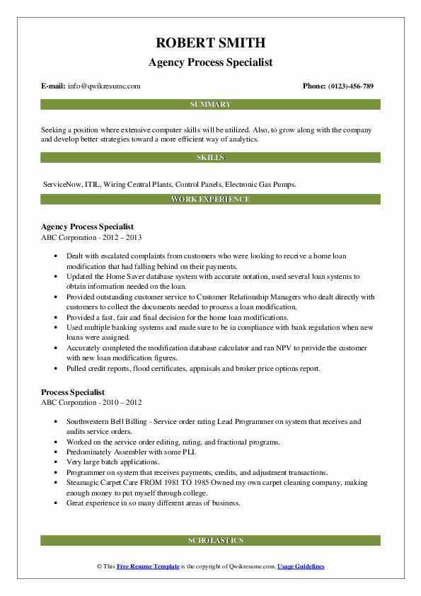 Agency Process Specialist Resume Example