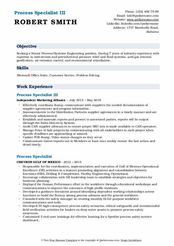 Process Specialist III Resume Model