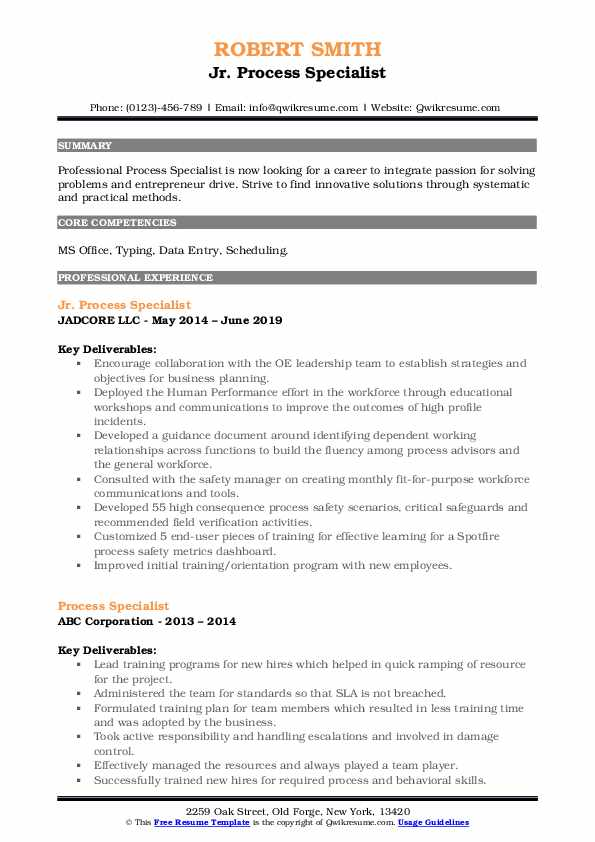 Jr. Process Specialist Resume Sample