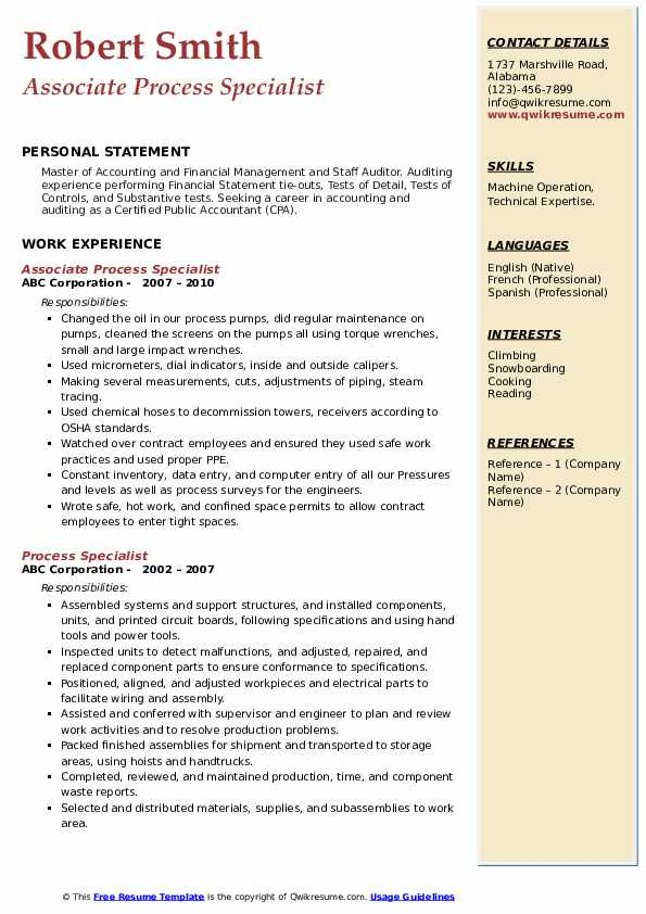 Associate Process Specialist Resume Format
