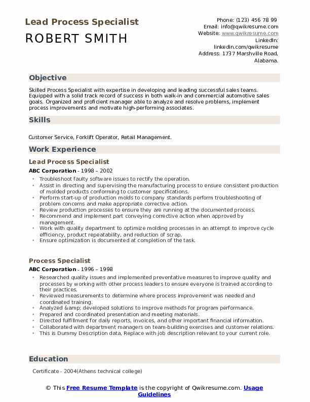 Lead Process Specialist Resume Template