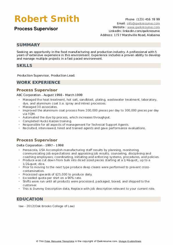 Process Supervisor Resume example