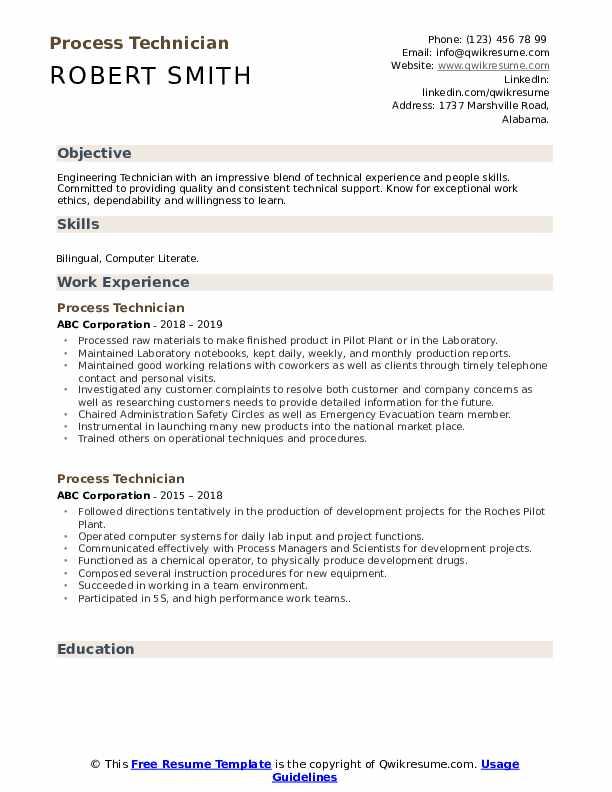 Process Technician Resume Model