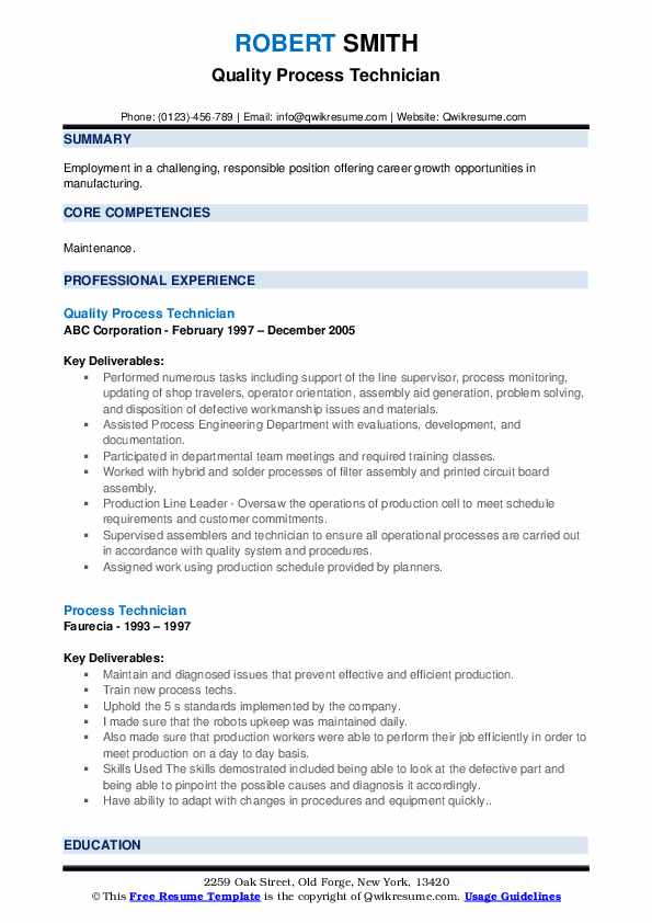 Quality Process Technician Resume Sample