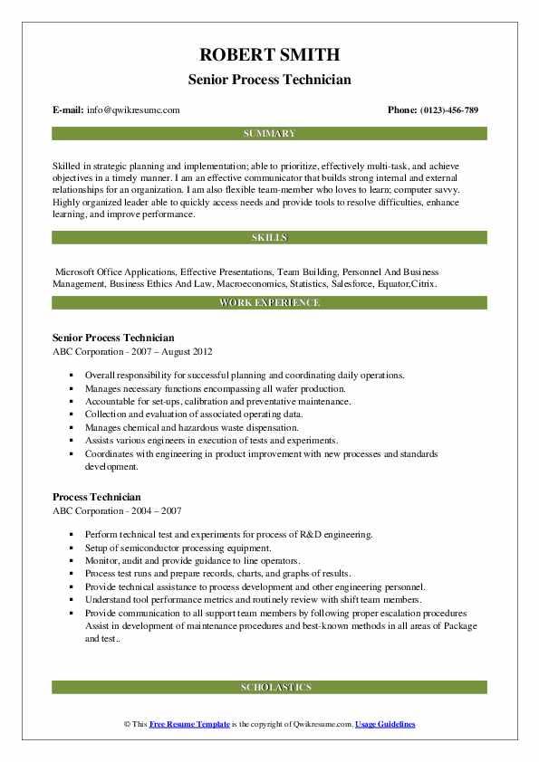 Senior Process Technician Resume Sample