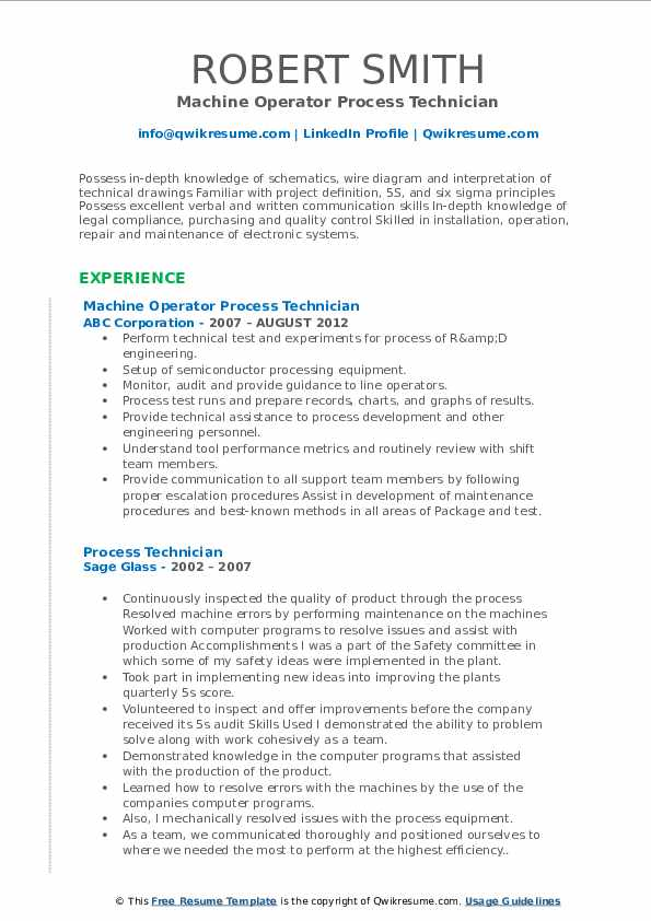 Machine Operator Process Technician Resume Example