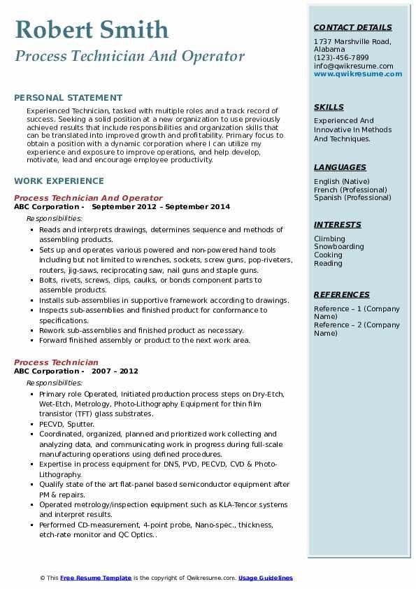 Process Technician And Operator Resume Model
