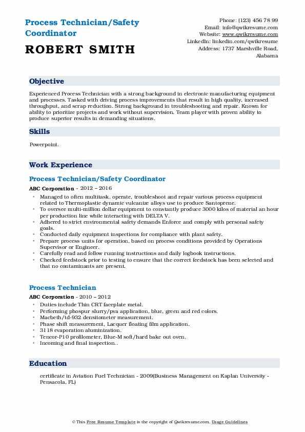 Process Technician/Safety Coordinator Resume Format