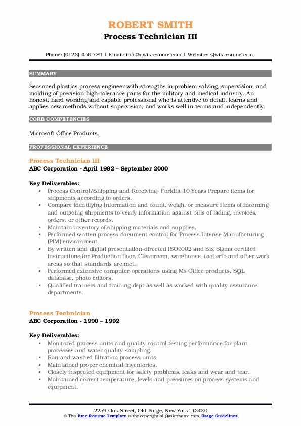 Process Technician III Resume Example