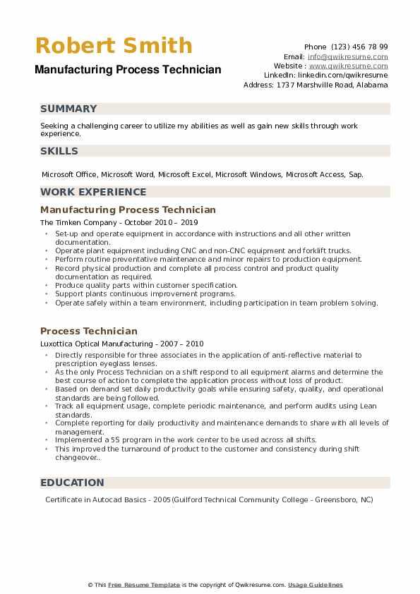 Manufacturing Process Technician Resume Format
