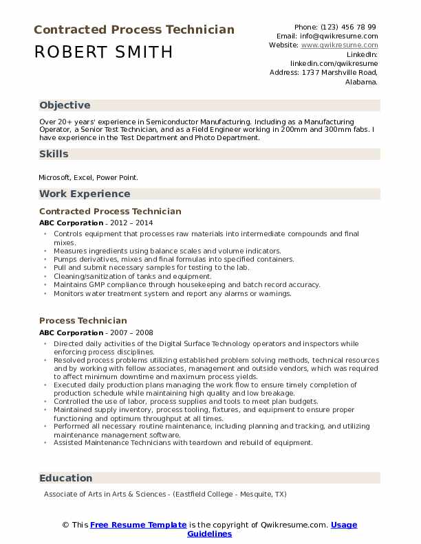 Contracted Process Technician Resume Example