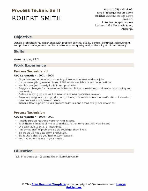 Product Technician Resume Samples | QwikResume