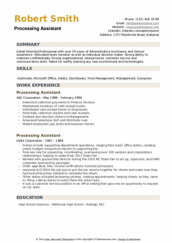 Processing Assistant Resume example