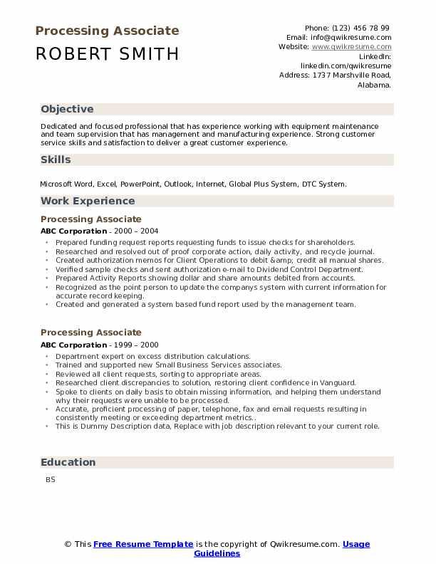 Processing Associate Resume example