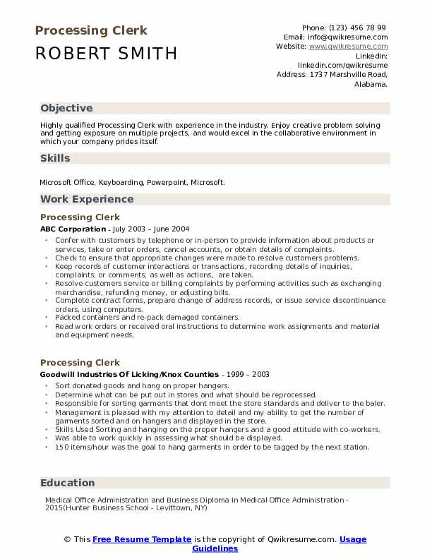 Processing Clerk Resume Sample