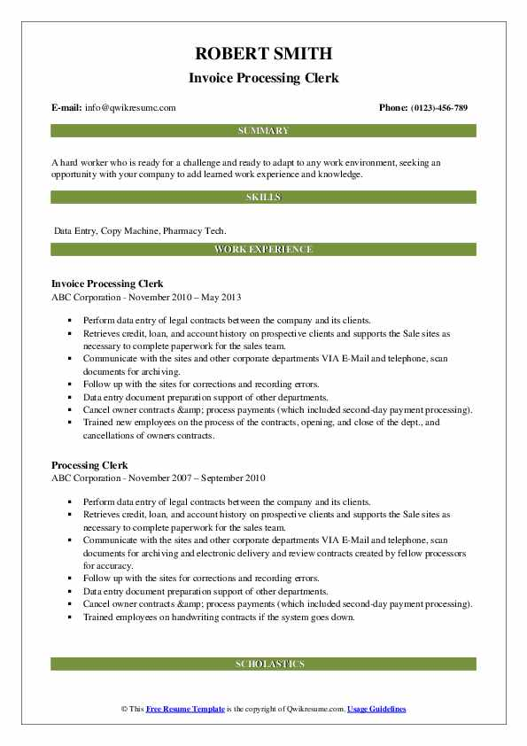 Invoice Processing Clerk Resume Sample