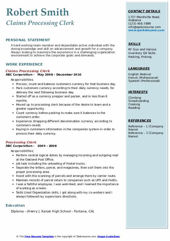 Claims Processing Clerk Resume Sample