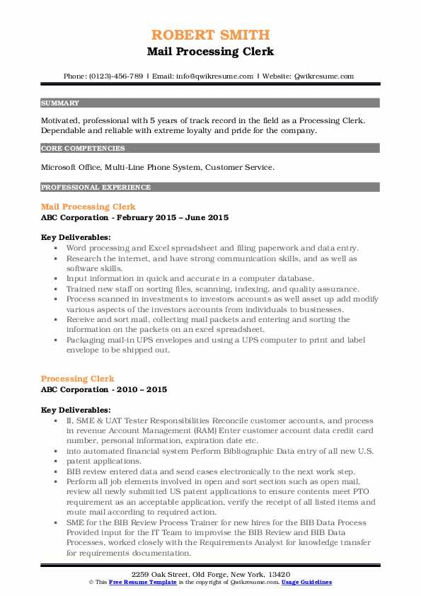 Mail Processing Clerk Resume Example