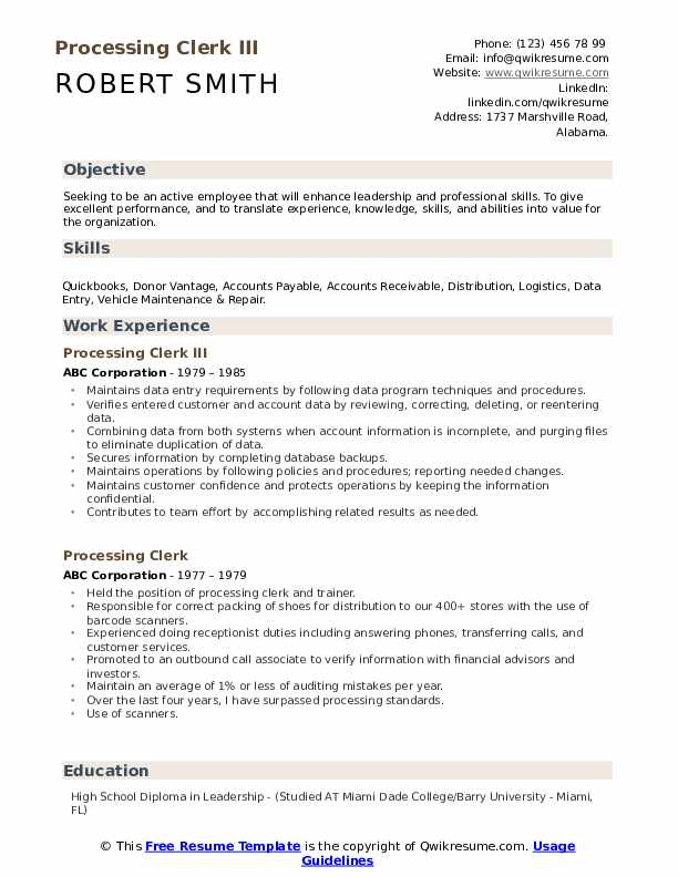Processing Clerk III Resume Example
