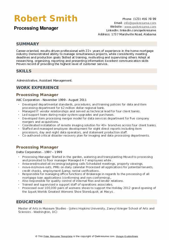 Processing Manager Resume example