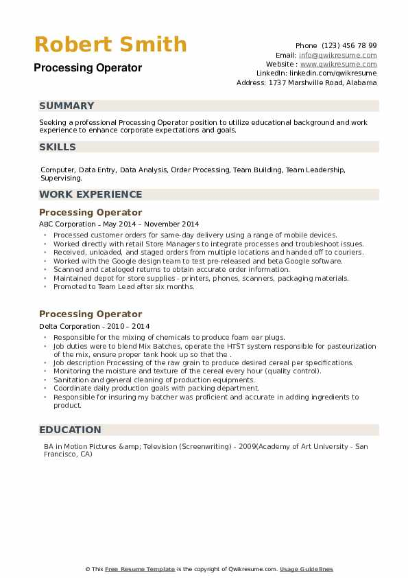 Processing Operator Resume example