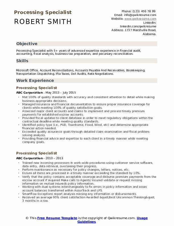 Processing Specialist Resume Sample
