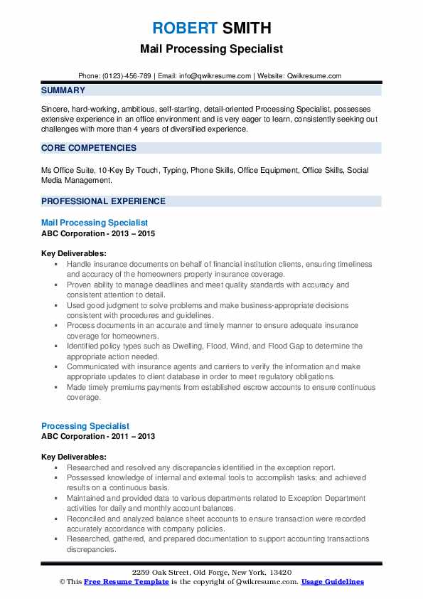 Mail Processing Specialist Resume Sample