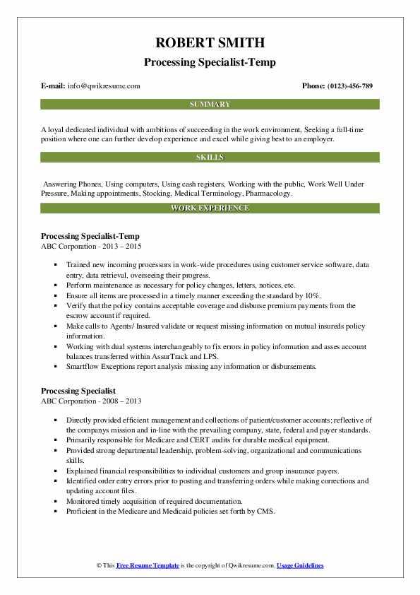 Processing Specialist-Temp Resume Sample
