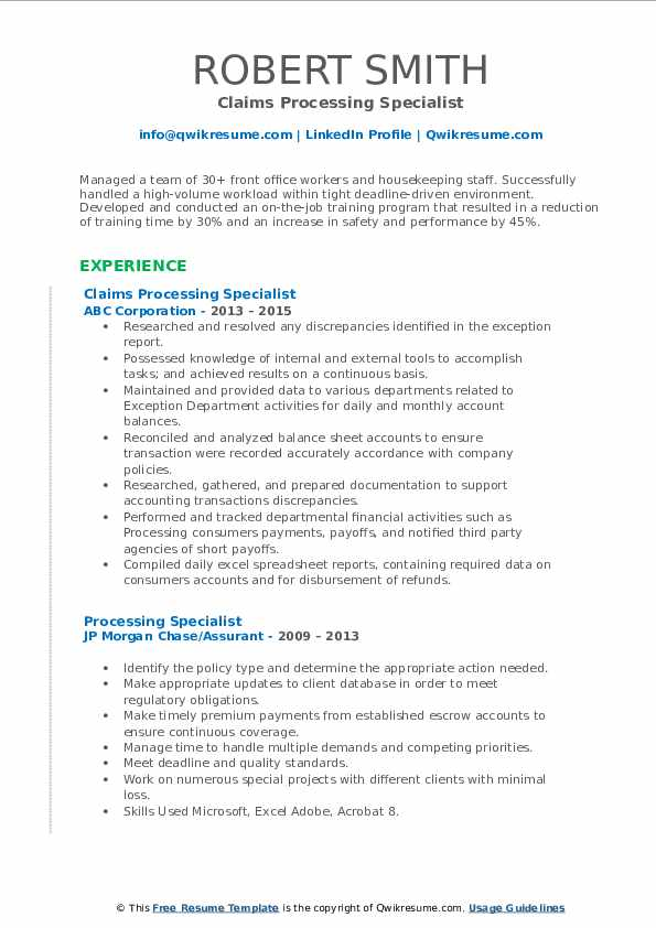 Claims Processing Specialist Resume Model