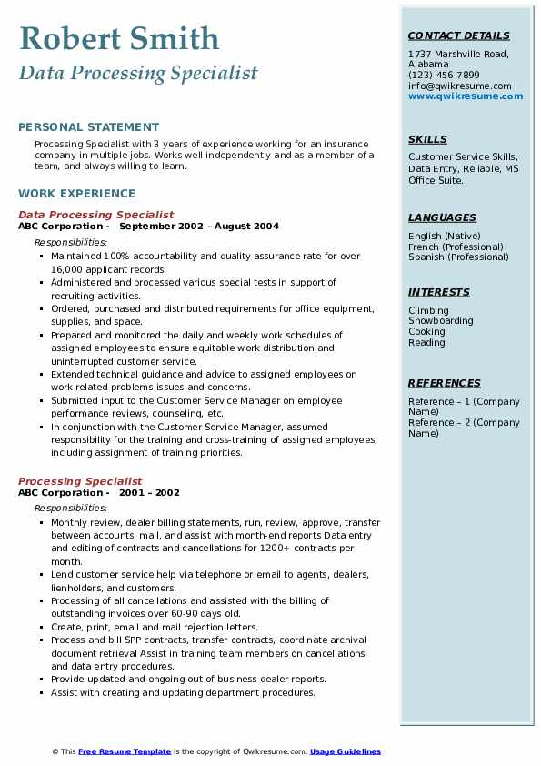 Data Processing Specialist Resume Sample