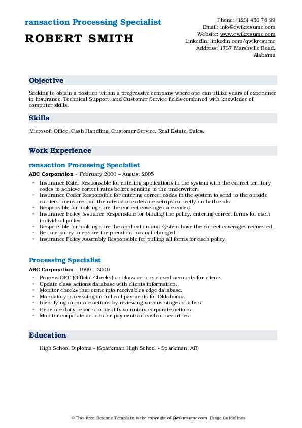 ransaction Processing Specialist Resume Model